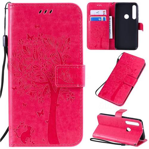 Embossing Butterfly Tree Leather Wallet Case for Motorola Moto G8 Play - Rose