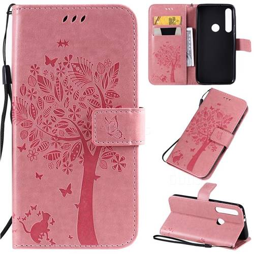 Embossing Butterfly Tree Leather Wallet Case for Motorola Moto G8 Play - Pink