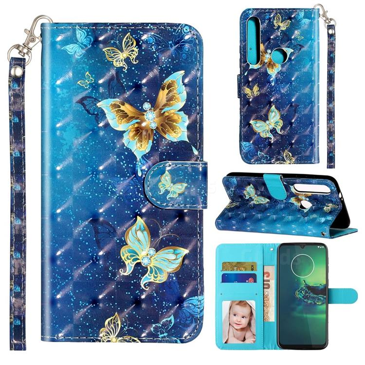 Rankine Butterfly 3D Leather Phone Holster Wallet Case for Motorola Moto G8 Play