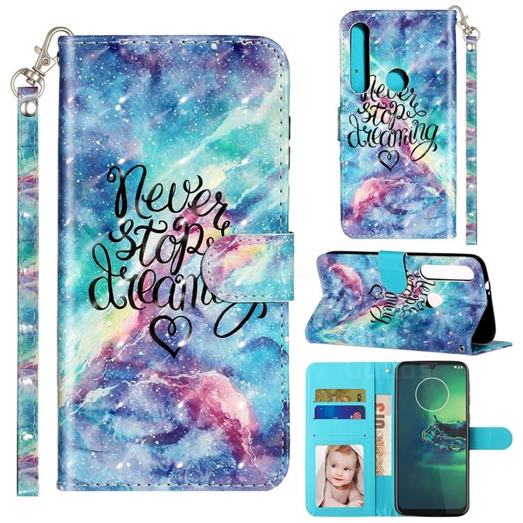 Blue Starry Sky 3D Leather Phone Holster Wallet Case for Motorola Moto G8 Play