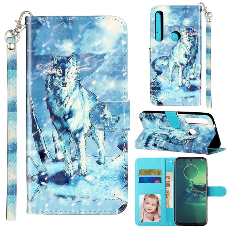 Snow Wolf 3D Leather Phone Holster Wallet Case for Motorola Moto G8 Play