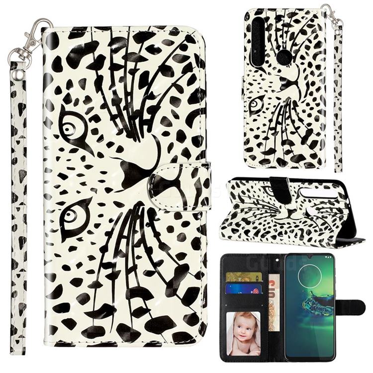 Leopard Panther 3D Leather Phone Holster Wallet Case for Motorola Moto G8 Play