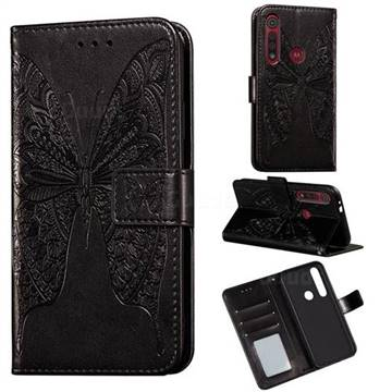 Intricate Embossing Vivid Butterfly Leather Wallet Case for Motorola Moto G8 Play - Black