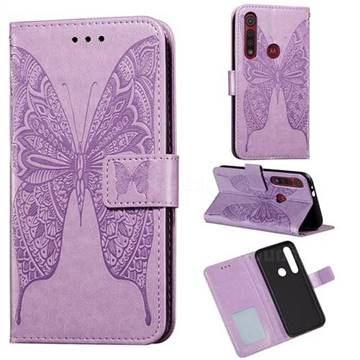 Intricate Embossing Vivid Butterfly Leather Wallet Case for Motorola Moto G8 Play - Purple