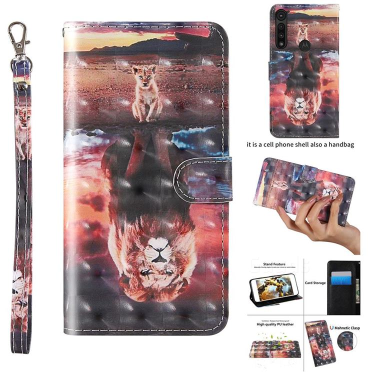 Fantasy Lion 3D Painted Leather Wallet Case for Motorola Moto G8 Play