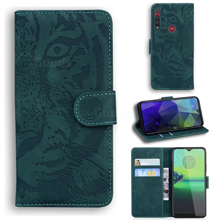Intricate Embossing Tiger Face Leather Wallet Case for Motorola Moto G8 Play - Green