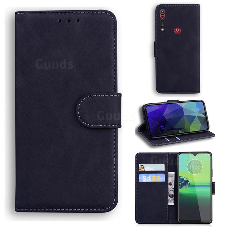 Retro Classic Skin Feel Leather Wallet Phone Case for Motorola Moto G8 Play - Black
