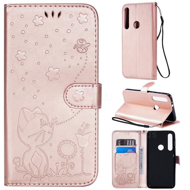 Embossing Bee and Cat Leather Wallet Case for Motorola Moto G8 Play - Rose Gold