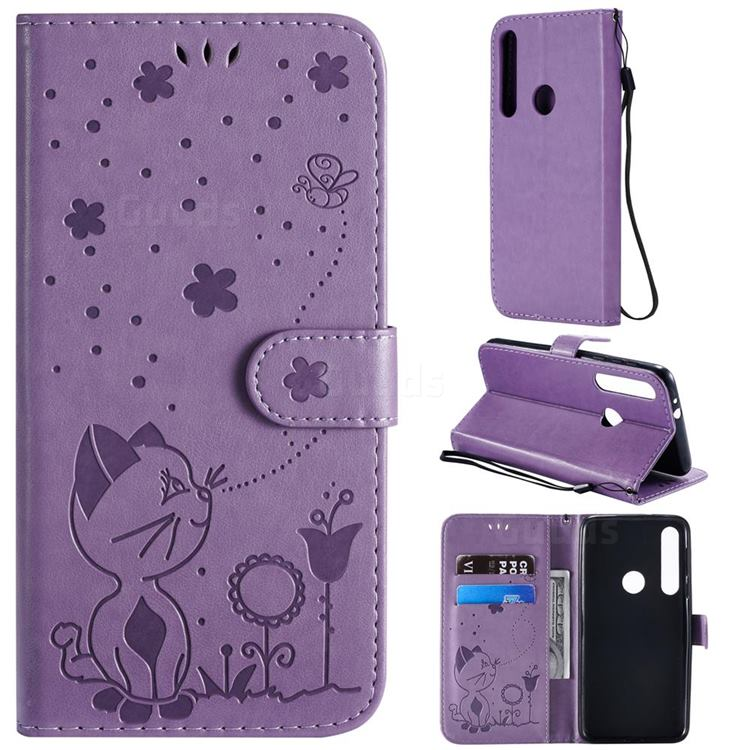 Embossing Bee and Cat Leather Wallet Case for Motorola Moto G8 Play - Purple