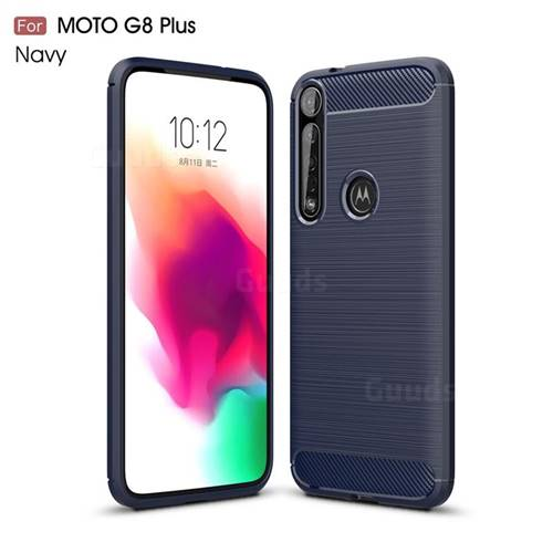 Luxury Carbon Fiber Brushed Wire Drawing Silicone TPU Back Cover for Motorola Moto G8 Plus - Navy