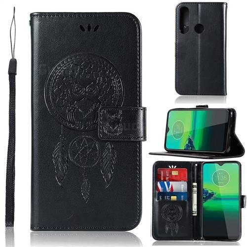 Intricate Embossing Owl Campanula Leather Wallet Case for Motorola Moto G8 Plus - Black