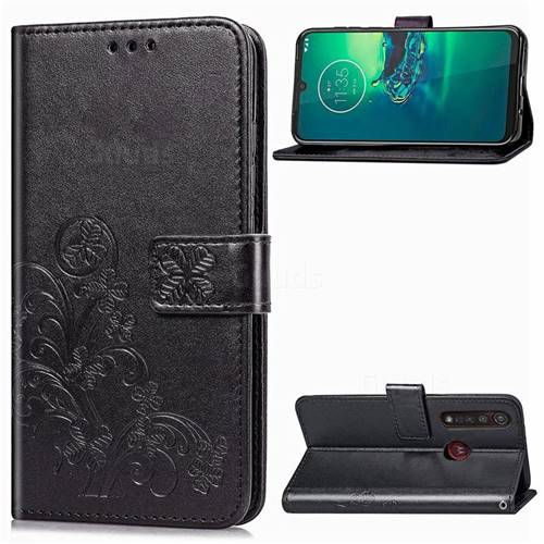 Embossing Imprint Four-Leaf Clover Leather Wallet Case for Motorola Moto G8 Plus - Black