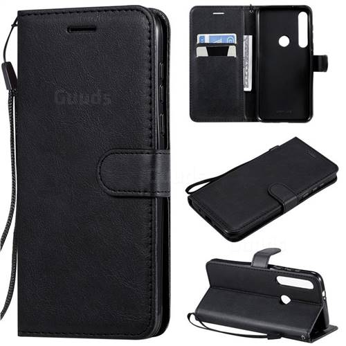 Retro Greek Classic Smooth PU Leather Wallet Phone Case for Motorola Moto G8 Plus - Black