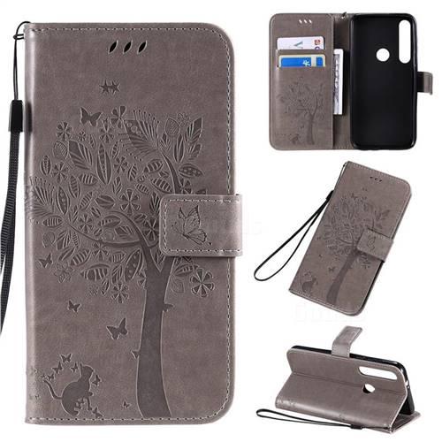 Embossing Butterfly Tree Leather Wallet Case for Motorola Moto G8 Plus - Grey