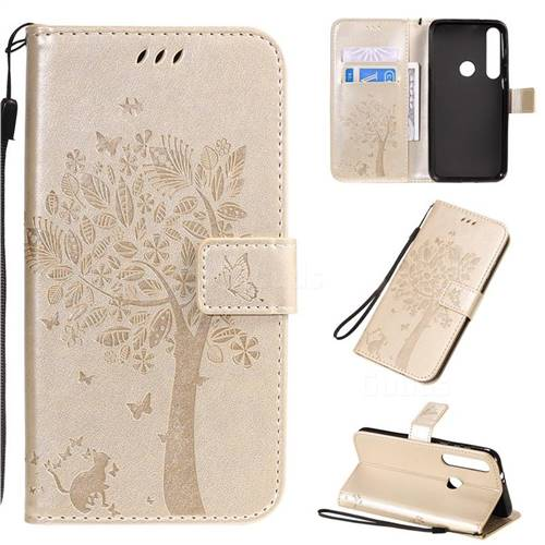 Embossing Butterfly Tree Leather Wallet Case for Motorola Moto G8 Plus - Champagne