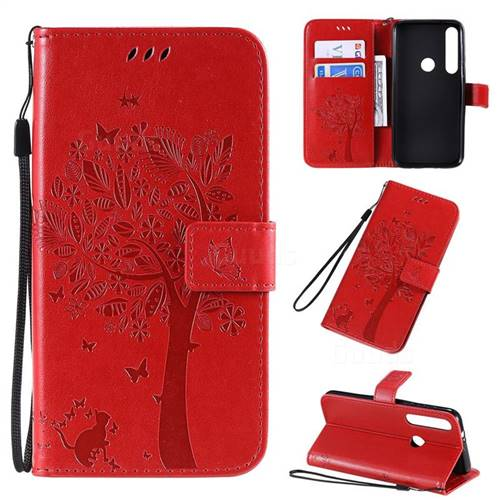 Embossing Butterfly Tree Leather Wallet Case for Motorola Moto G8 Plus - Red