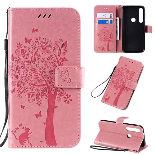 Embossing Butterfly Tree Leather Wallet Case for Motorola Moto G8 Plus - Pink