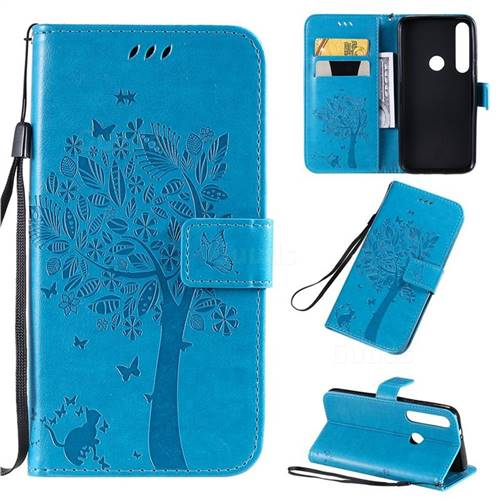 Embossing Butterfly Tree Leather Wallet Case for Motorola Moto G8 Plus - Blue
