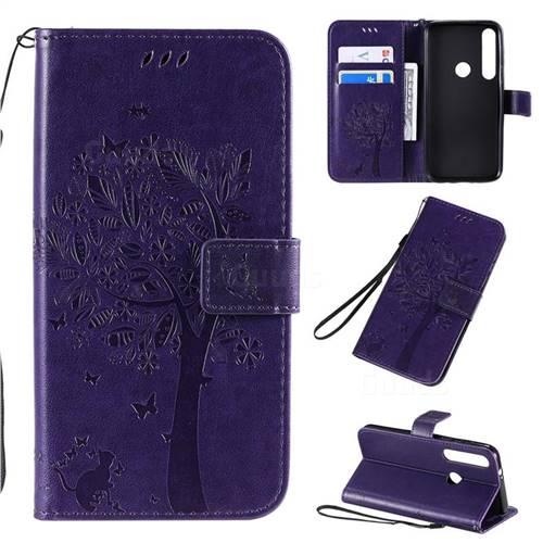 Embossing Butterfly Tree Leather Wallet Case for Motorola Moto G8 Plus - Purple