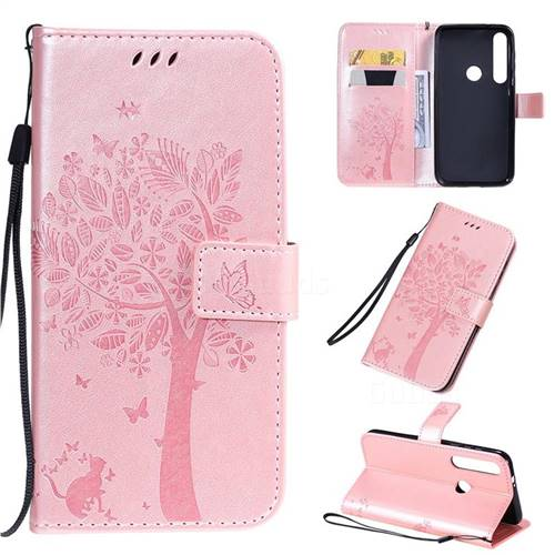 Embossing Butterfly Tree Leather Wallet Case for Motorola Moto G8 Plus - Rose Pink