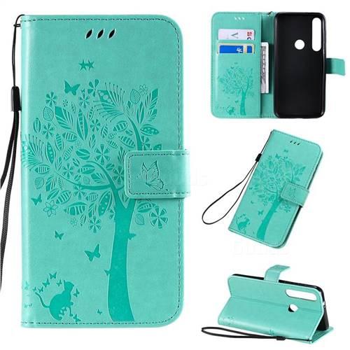Embossing Butterfly Tree Leather Wallet Case for Motorola Moto G8 Plus - Cyan