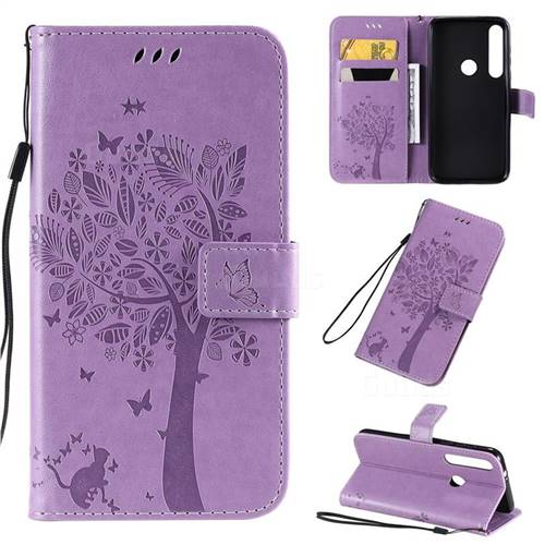 Embossing Butterfly Tree Leather Wallet Case for Motorola Moto G8 Plus - Violet