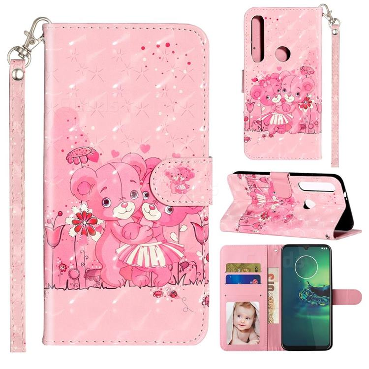 Pink Bear 3D Leather Phone Holster Wallet Case for Motorola Moto G8 Plus
