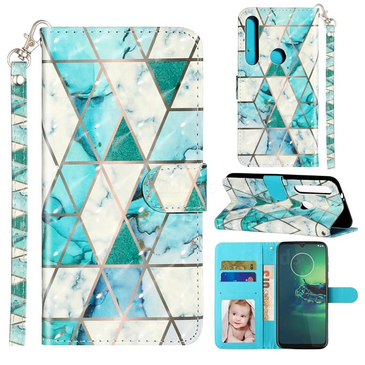 Stitching Marble 3D Leather Phone Holster Wallet Case for Motorola Moto G8 Plus