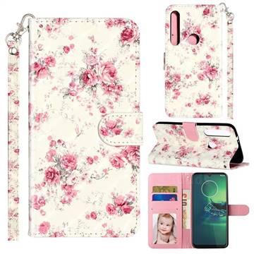 Rambler Rose Flower 3D Leather Phone Holster Wallet Case for Motorola Moto G8 Plus