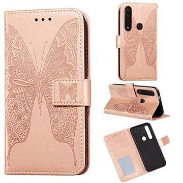 Intricate Embossing Vivid Butterfly Leather Wallet Case for Motorola Moto G8 Plus - Rose Gold