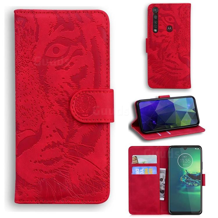 Intricate Embossing Tiger Face Leather Wallet Case for Motorola Moto G8 Plus - Red