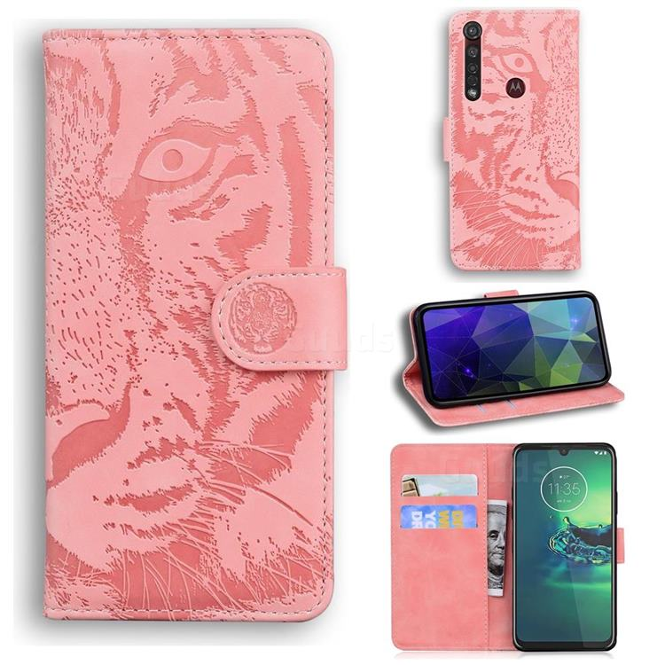 Intricate Embossing Tiger Face Leather Wallet Case for Motorola Moto G8 Plus - Pink