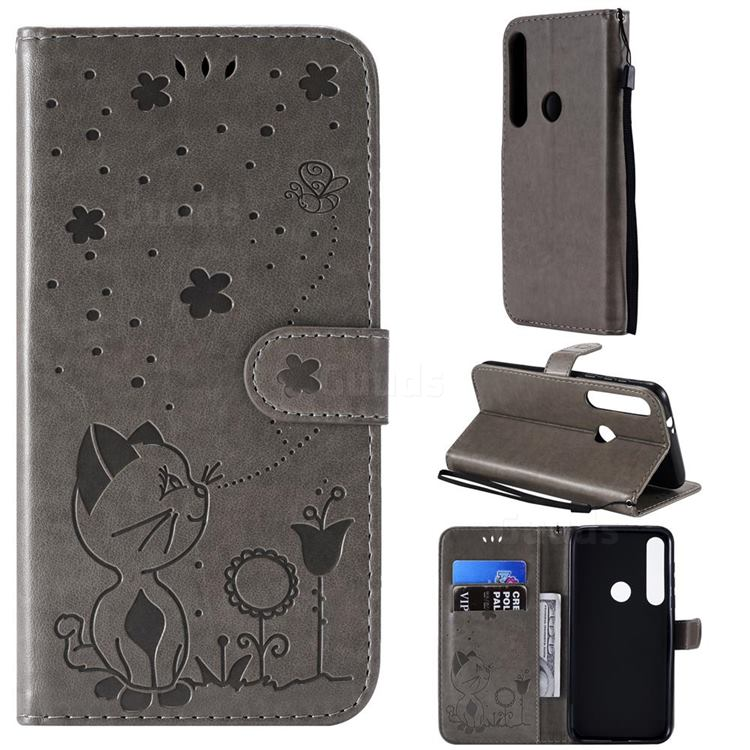 Embossing Bee and Cat Leather Wallet Case for Motorola Moto G8 Plus - Gray