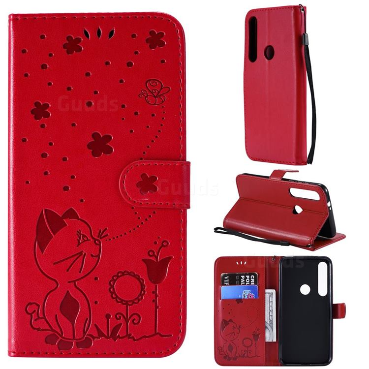 Embossing Bee and Cat Leather Wallet Case for Motorola Moto G8 Plus - Red