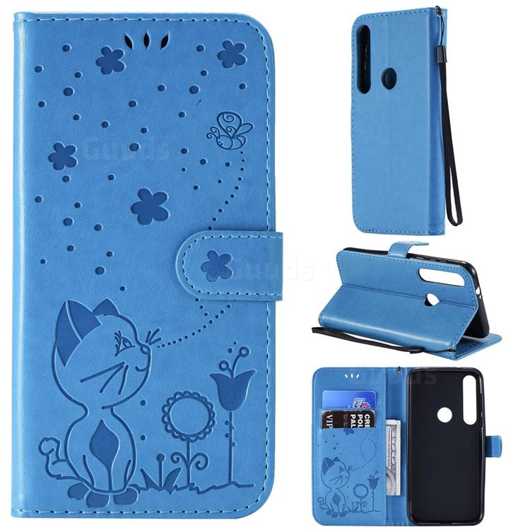 Embossing Bee and Cat Leather Wallet Case for Motorola Moto G8 Plus - Blue