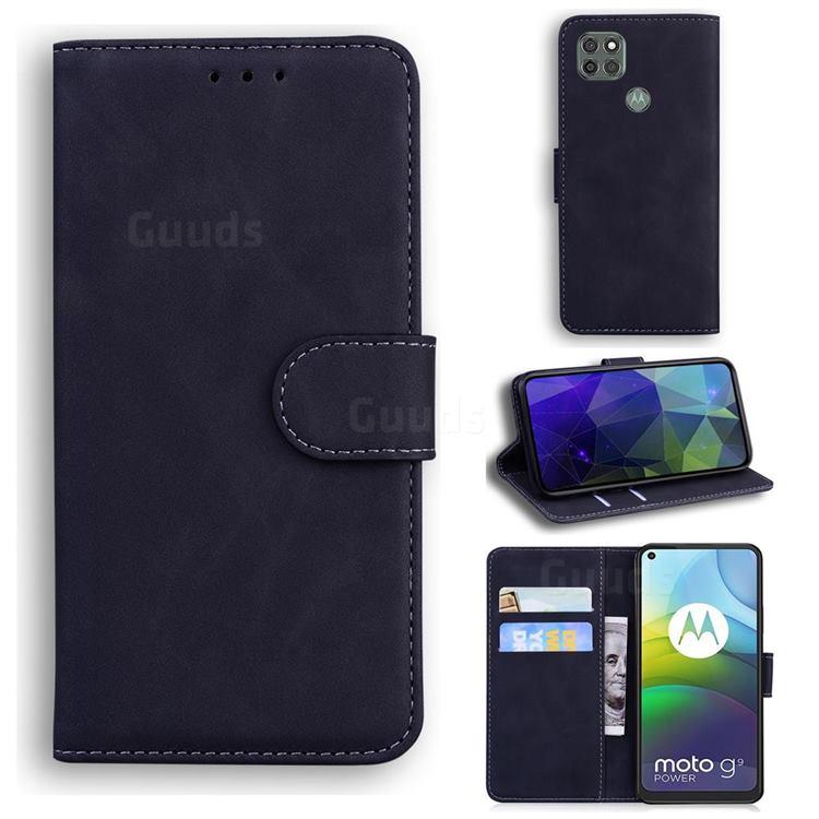 Retro Classic Skin Feel Leather Wallet Phone Case for Motorola Moto G9 Power - Black
