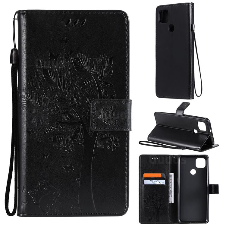 Embossing Butterfly Tree Leather Wallet Case for Motorola Moto G9 Power - Black