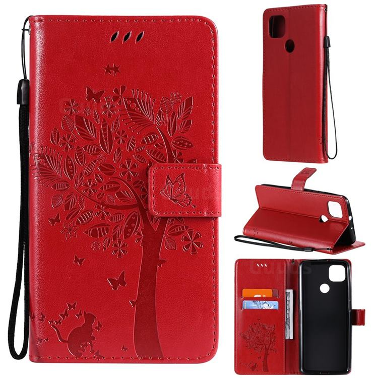 Embossing Butterfly Tree Leather Wallet Case for Motorola Moto G9 Power - Red