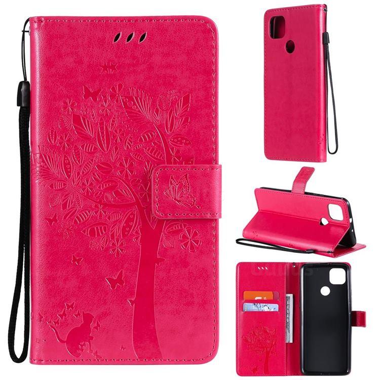 Embossing Butterfly Tree Leather Wallet Case for Motorola Moto G9 Power - Rose