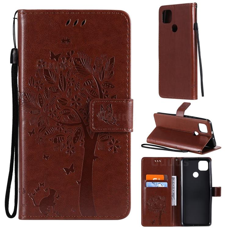 Embossing Butterfly Tree Leather Wallet Case for Motorola Moto G9 Power - Coffee