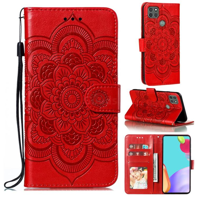 Intricate Embossing Datura Solar Leather Wallet Case for Motorola Moto G9 Power - Red
