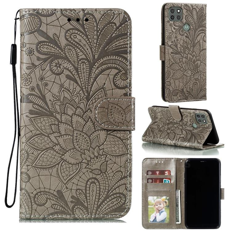 Intricate Embossing Lace Jasmine Flower Leather Wallet Case for Motorola Moto G9 Power - Gray