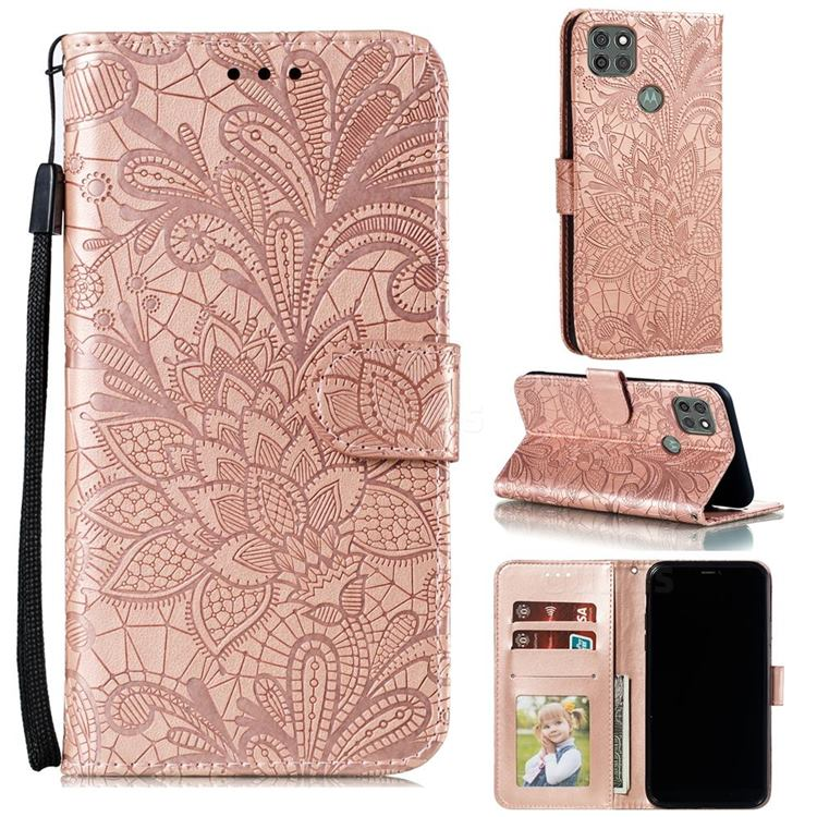 Intricate Embossing Lace Jasmine Flower Leather Wallet Case for Motorola Moto G9 Power - Rose Gold
