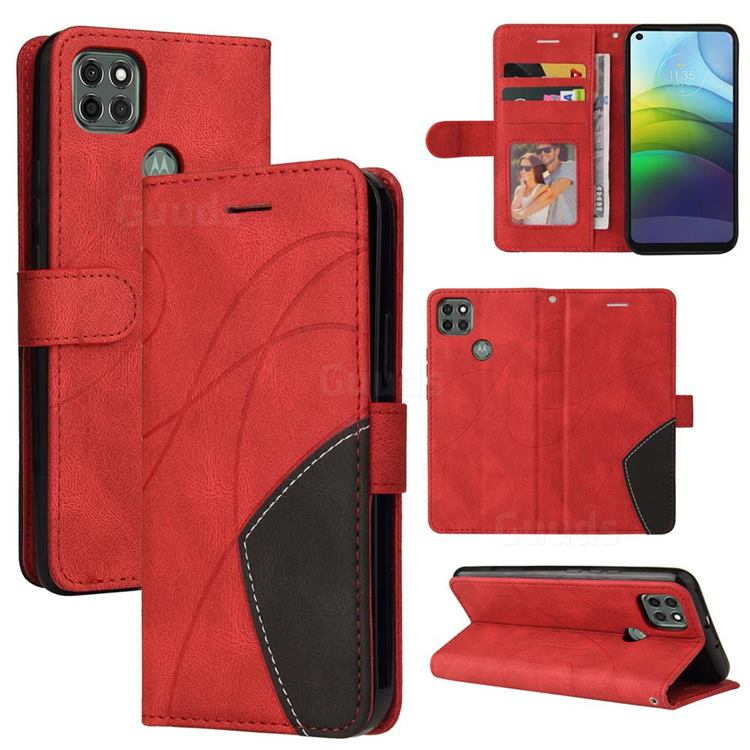 Luxury Two-color Stitching Leather Wallet Case Cover for Motorola Moto G9 Power - Red