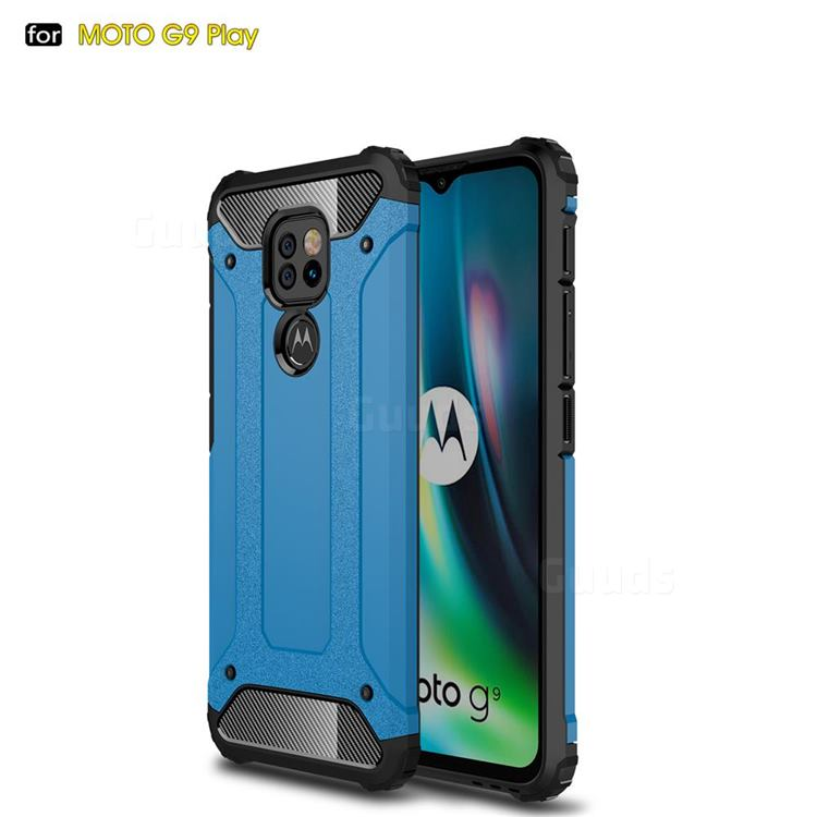 King Kong Armor Premium Shockproof Dual Layer Rugged Hard Cover for Motorola Moto G9 Play - Sky Blue