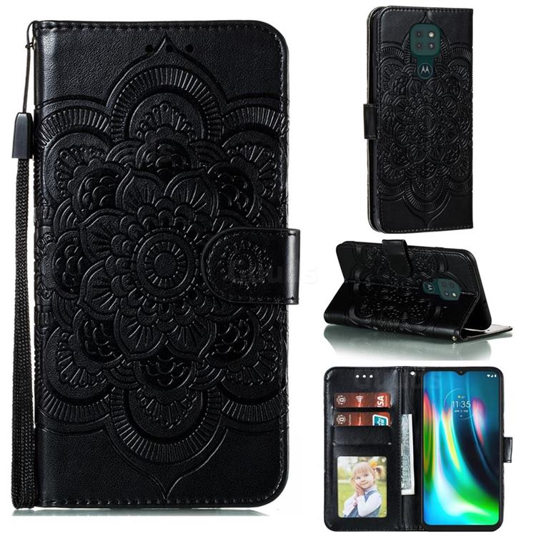 Intricate Embossing Datura Solar Leather Wallet Case for Motorola Moto G9 Play - Black