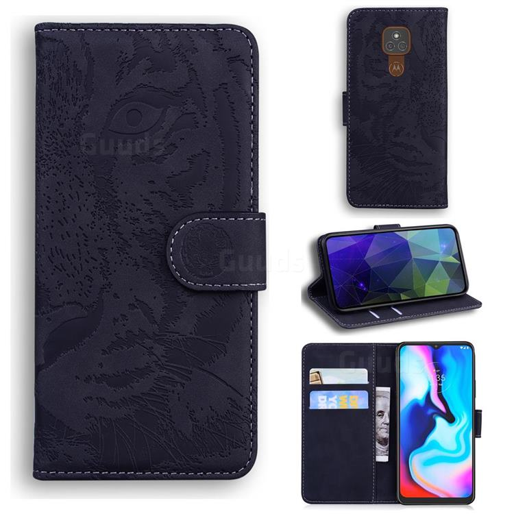 Intricate Embossing Tiger Face Leather Wallet Case for Motorola Moto G9 Play - Black