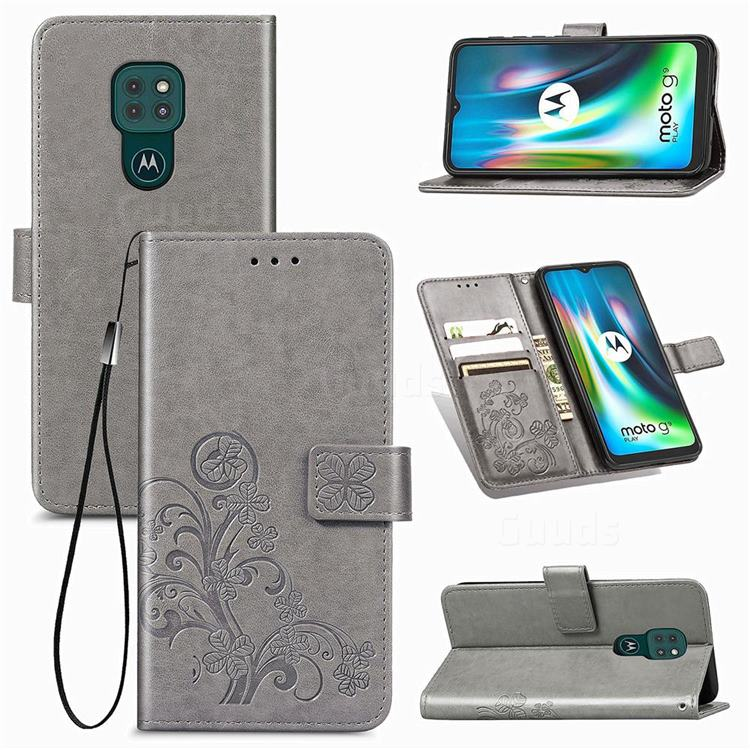 Embossing Imprint Four-Leaf Clover Leather Wallet Case for Motorola Moto G9 Play - Grey