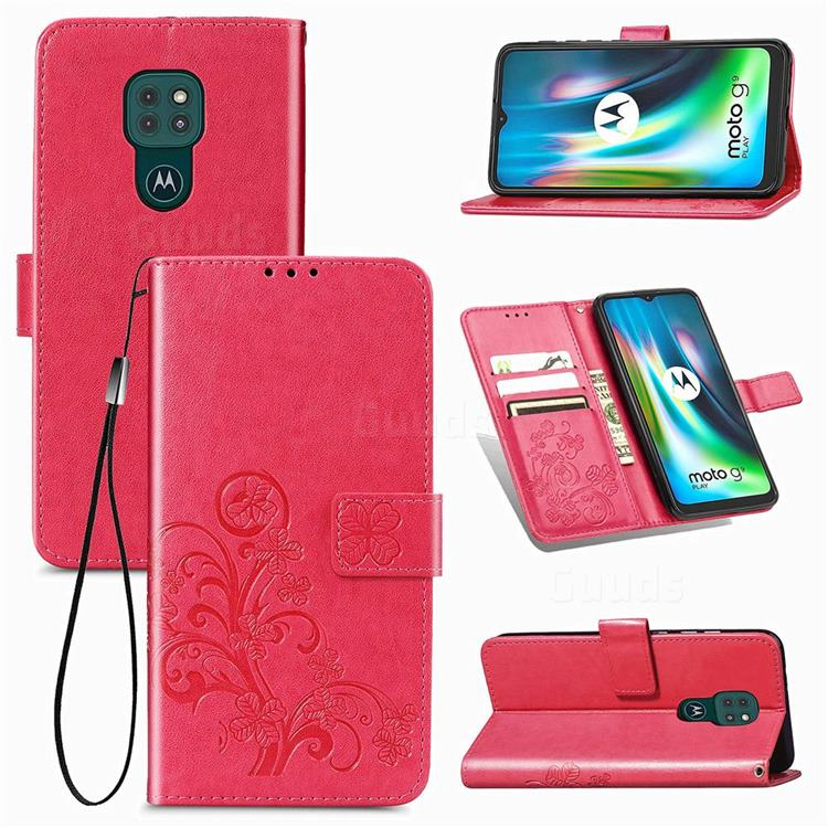 Embossing Imprint Four-Leaf Clover Leather Wallet Case for Motorola Moto G9 Play - Rose Red