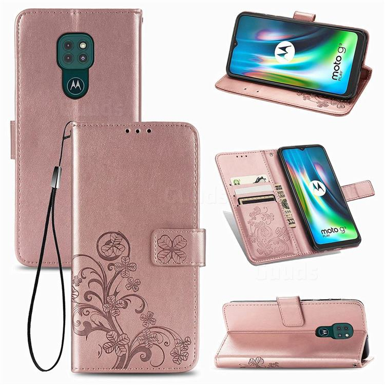 Embossing Imprint Four-Leaf Clover Leather Wallet Case for Motorola Moto G9 Play - Rose Gold
